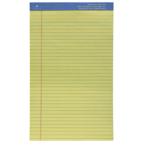 Sparco Premium Grade Legal Note Pad (SPR1014) - Yellow