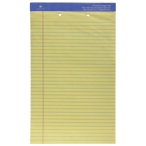 Sparco Premium Grade 2-Hole Punched Legal Note Pad (SPR1014-2HP) - Yellow