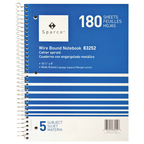 Sparco Wirebound 5-Subject Wide Ruled Notebook (SPR83251) - Blue
