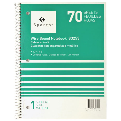 Sparco Wirebound 1-Subject College Ruled Notebook (SPR83253) - Green