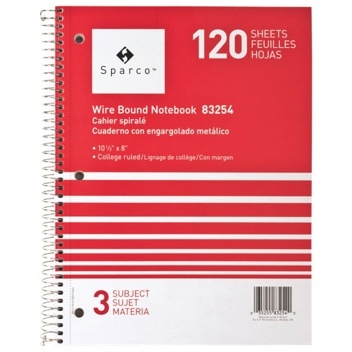 Sparco Wirebound 3-Subject College Ruled Notebook (SPR83254) - Red