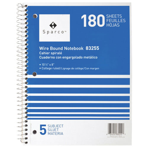 Sparco Wirebound 5-Subject College Ruled Notebook (SPR83255) - Blue