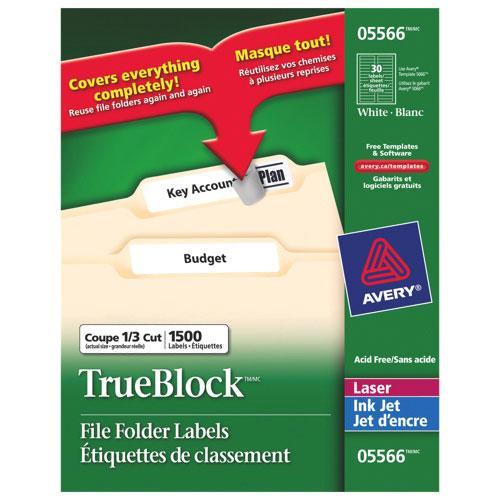 """Avery TrueBlock 2/3"""" x 3-7/16"""" Laser/Inkjet File Folder Labels (AVE05566) - 1500 Pack - White"""
