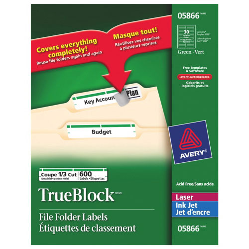 Avery Filing Labels (AVE05866) - 600 Pack - Green