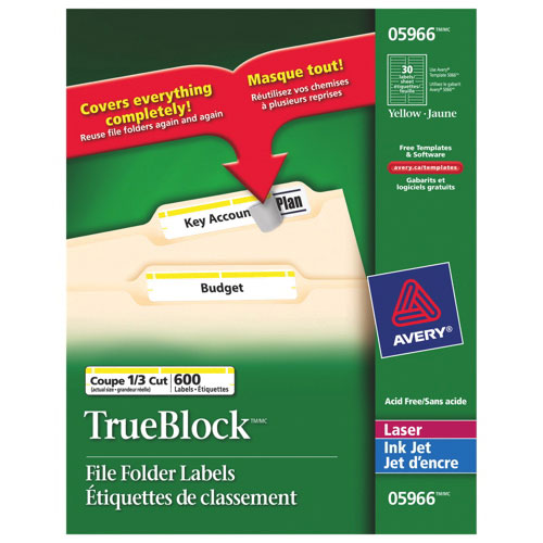 Avery Filing Labels (AVE05966) - 600 Pack - Yellow