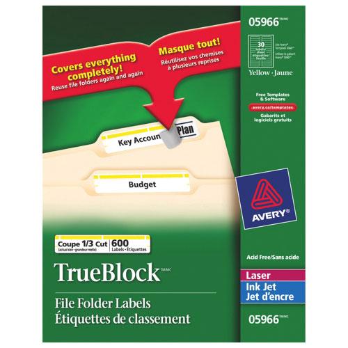 Étiquettes de classement d'Avery (AVE05966) - Paquet de 600 - Jaune