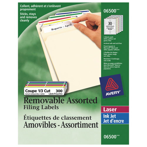 Avery Removable Filing Labels (AVE06500) - 300 Pack - Assorted