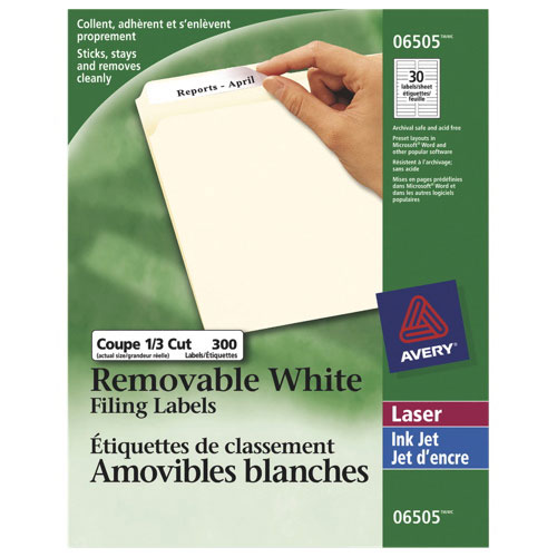 "Avery Removable 2/3"" x 3-7/16"" Laser/Inkjet Filing Labels (AVE06505) - 300 Pack - White"
