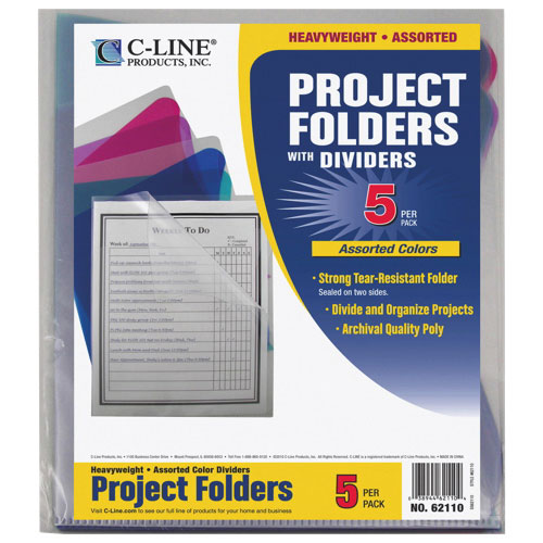 C-Line Multi-Section Project Folders (CLI62110) - 5 Pack - Assorted Colours