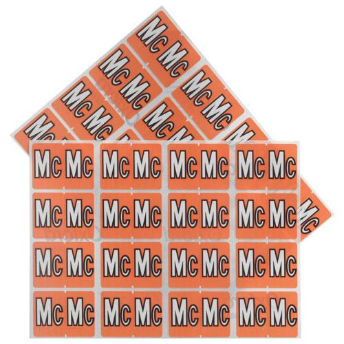 Étiquettes Mc pour chemise chromocodées à ordre alphabétique d'Esselte (ESS06614) - Pqt 240 - Rose