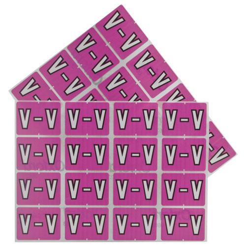 Étiquettes V pour chemise chromocodées à ordre alphabétique d'Esselte (ESS06623) - Pqt 240 - Lilas