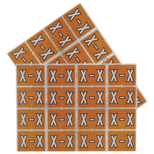 Esselte Colour-Coded X Design Alphabetical Shelf Folder Labels (ESS06625) - 240 Pack - Light Brown