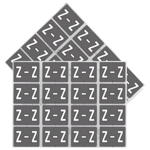Esselte Colour-Coded Z Design Alphabetical Shelf Folder Labels (ESS06627) - 240 Pack - White