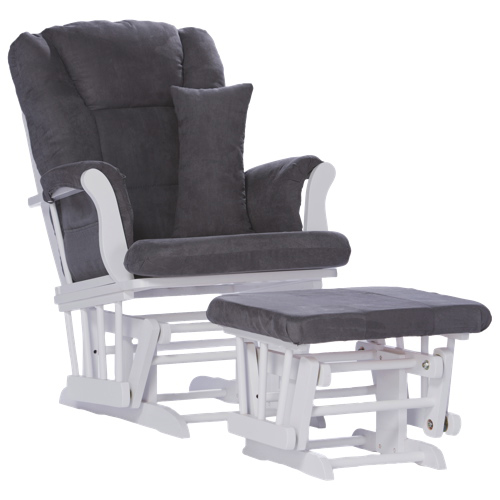 Storkcraft Custom Tuscany Glider With Ottoman - White/Grey