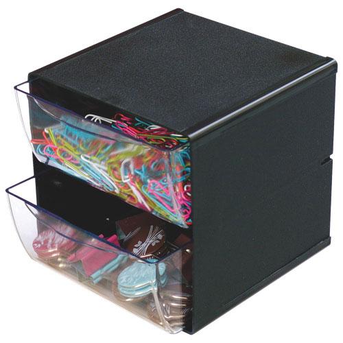 Cube de rangement à 2 tiroirs de Deflect-o (DEF350104) - Noir