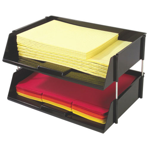 Deflect-o Heavy-Duty Side Loading Letter Tray (DEF582704) - 2 Pack - Black