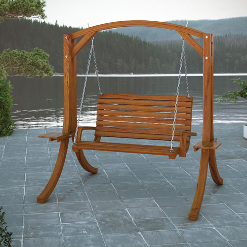 Wood Canyon Contemporary Patio Swing - Brown