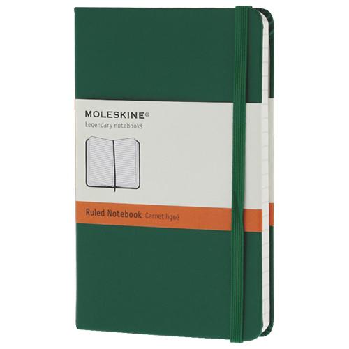 Cahier de papier ligné avec pochette 3,5 x 5,5 po de Moleskine - Vert
