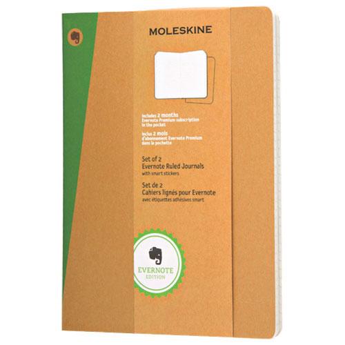 Ensemble de deux cahiers lignés de Moleskine pour Evernote - Très grand