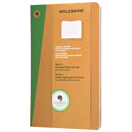 "Moleskine 5"" x 8.25"" Evernote Large Ruled Journals - Set of 2"