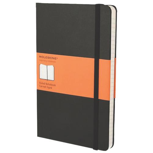 Grand cahier à papier ligné 5 x 8,25 po de Moleskine - Noir