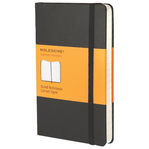 Cahier de papier ligné avec pochette 3,5 x 5,5 po de Moleskine - Noir