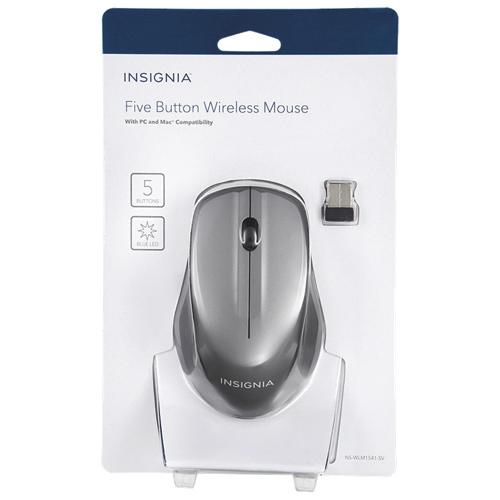 Insignia Wireless 5 Button Mouse (NS-WLM1451-SV-C) - Silver