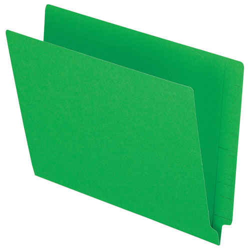 Esselte End Tab File Folder (ESSH110DGR) - Letter - 100 Pack - Green