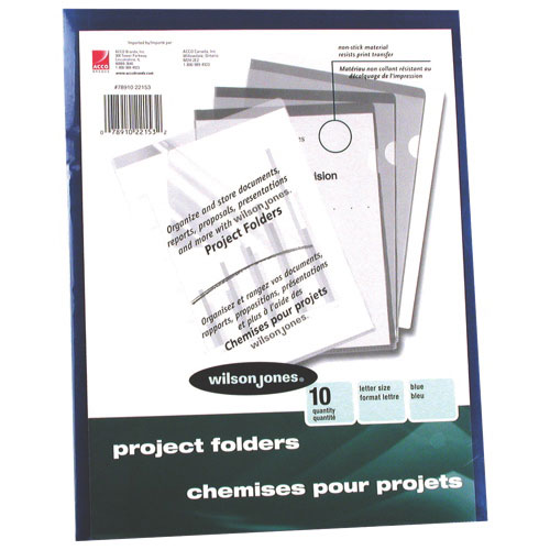 Chemises pour projets en vinyle de Wilson Jones (WLJ22153) - Lettre - Paquet de 10 - Bleu