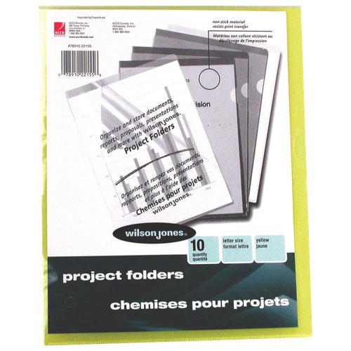 Wilson Jones Vinyl Pocket Folders (WLJ22155) - Letter - 10 Pack - Yellow