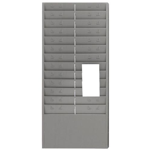 """MMF 13.6"""" x 30.0"""" Sturdy Steel Time Card Rack - 24 Pack - Grey"""