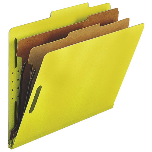 """Nature Saver 8.5"""" x 11"""" Eco-Friendly Classification Folders - 10 Pack - Yellow"""