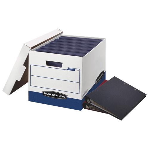 "Fellowes 12.4"" x 13.1"" Bankers Binder Storage Box - White/Blue"