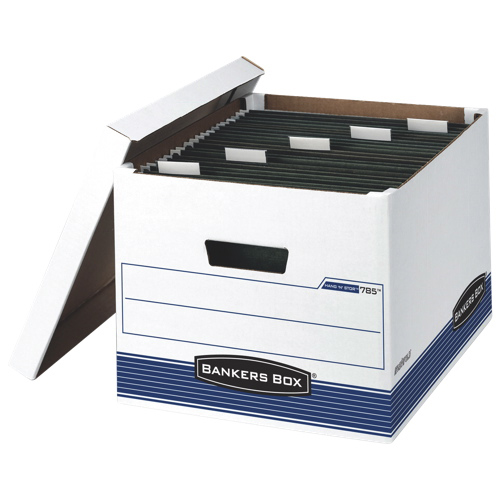 "Fellowes 10.8"" x 13.8"" Bankers Hang 'N' Stor Storage Boxes - 4 Pack - White/Blue"