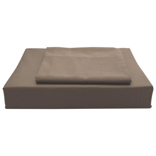 Ens. housse de couette en coton égyptien contexture 620 Duncan de Maholi - Très grand lit - Cacao