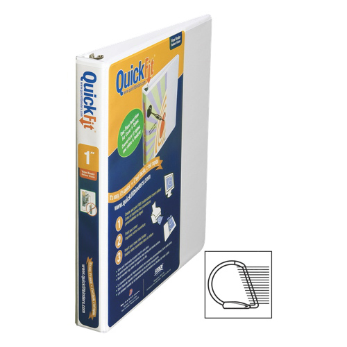 """QuickFit 1"""" View Binder With a Secure D-Ring Closure - White"""