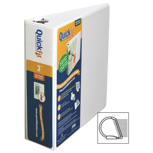 "QuickFit 3"" View Binder With a Secure D-Ring Closure - White (8705-00)"