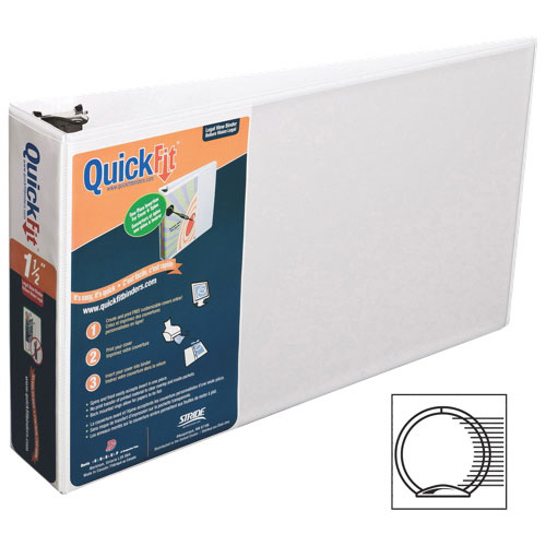 """QuickFit 3"""" View Binder With a Secure Round Ring Closure - White (95020L)"""