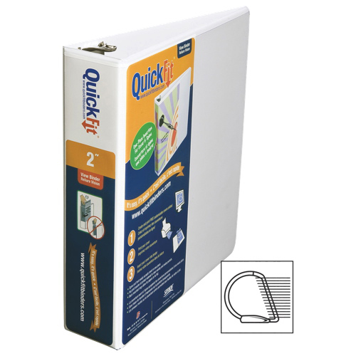 """QuickFit 2"""" View Binder With a Secure D-Ring Closure - White"""