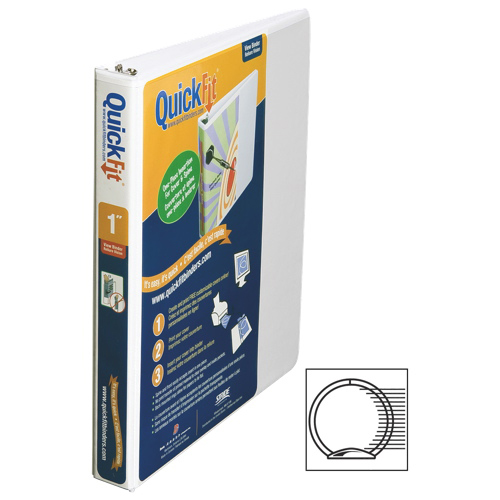 "QuickFit 1"" View Binder With a Secure D-Ring Closure - White"