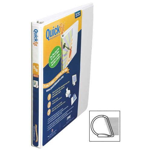 """QuickFit 5/8"""" View Binder With a Secure D-Ring Closure - White"""