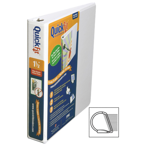 "QuickFit 1.5"" View Binder With a Secure D-Ring Closure - White"