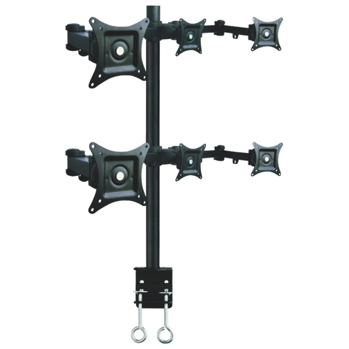 "TygerClaw 13"" - 24"" Full Motion Monitor Desk Mount for 6 Monitors - Black"