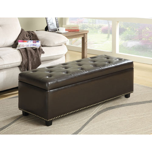 Hamilton Bonded Leather Storage Bench Ottoman - Dark Brown