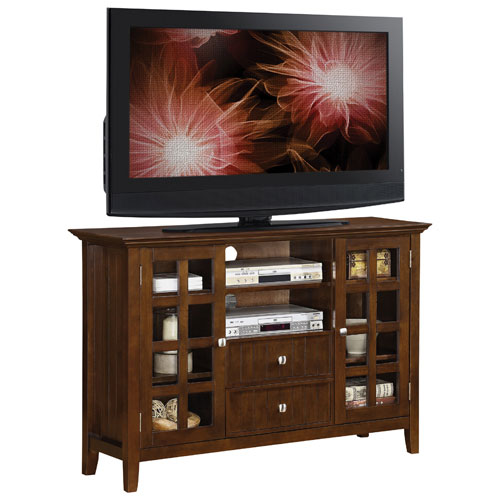 """Simpli Home Acadian 60"""" Tall TV Stand - Tobacco Brown"""