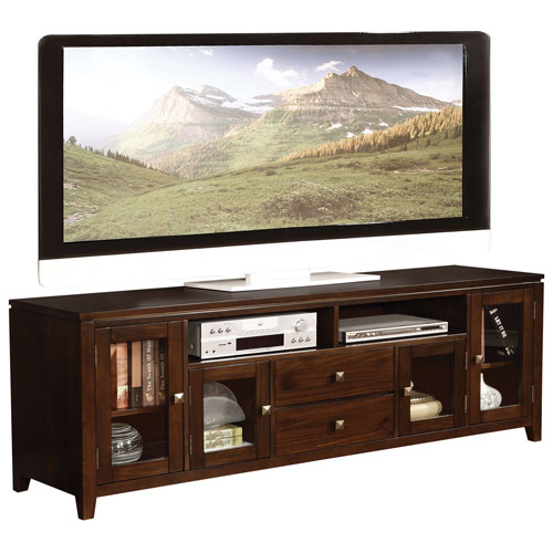 "Simpli Home TV Stand for Up To 72"" (3AXCCOS72) - Coffee Brown"