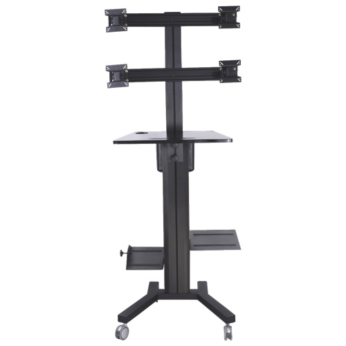 """TygerClaw Mobile PC Stand for 4 Monitors Up To 17"""" (LVW8607) - Black"""