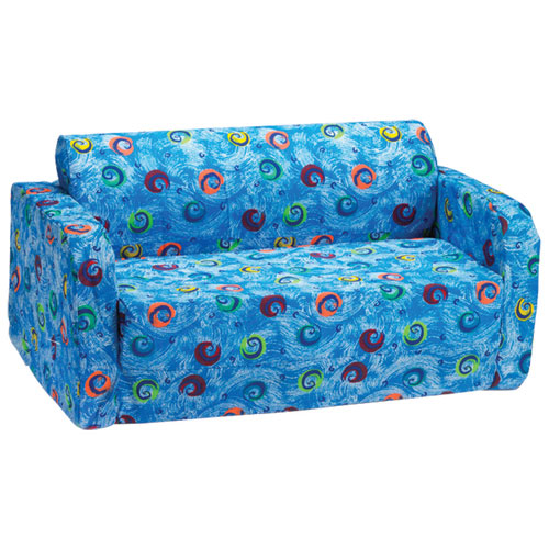 Comfy Kids - Kids Flip Sofa - Blue Swirls