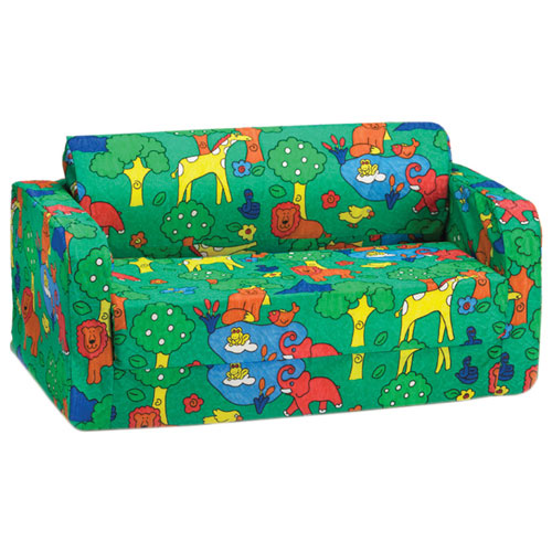 Comfy Kids   Kids Flip Sofa   Green Animal Print   Online Only