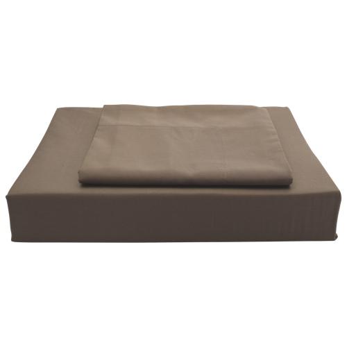 Ensemble de draps en coton égyptien contexture 250 Solid de Maholi - Lit deux places - Chocolat